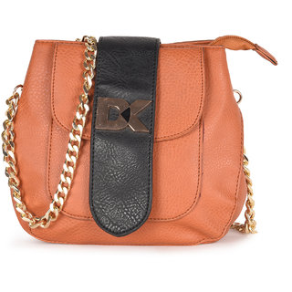 Diana Korr Tan Self Design Handbag