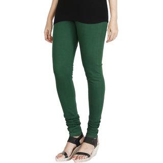 HRINKAR BOTTLE GREEN Soft Cotton Lycra Plain girls leggings Size - L XL XXL - HLGS1526-XL