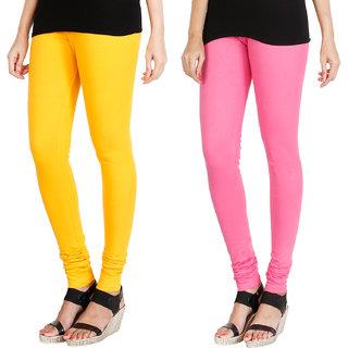 HRINKAR MANGO YELLOW LIGHT PINK Soft Cotton Lycra Plain girls leggings combo Pack of 2 Size - L, XL, XXL - HLGCMB0041-XL