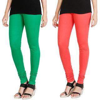 HRINKAR LIGHT GREEN PEACH Soft Cotton Lycra Plain leggings for girls combo Pack of 2 Size - L, XL, XXL - HLGCMB0062-L