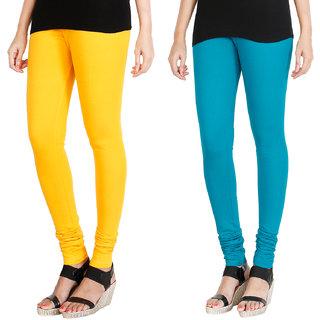 HRINKAR MANGO YELLOW BLUE Soft Cotton Lycra Plain leggings for womens combo Pack of 2 Size - L, XL, XXL - HLGCMB0043-L