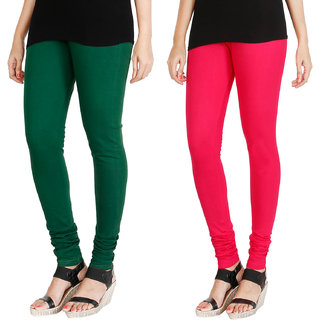 HRINKAR BOTTLE GREEN DARK PINK Soft Cotton Lycra Plain leggings womens and girls combo Pack of 2 Size - L, XL, XXL - HLGCMB0055-XL