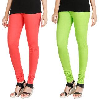 HRINKAR PEACH FLUROSCENT GREEN Soft Cotton Lycra Plain womens leggings combo Pack of 2 Size - L, XL, XXL - HLGCMB0103-L