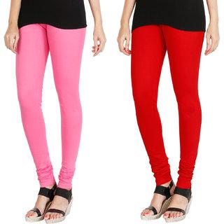 HRINKAR LIGHT PINK RED Soft Cotton Lycra Plain leggings for womens combo Pack of 2 Size - L, XL, XXL - HLGCMB0129-L