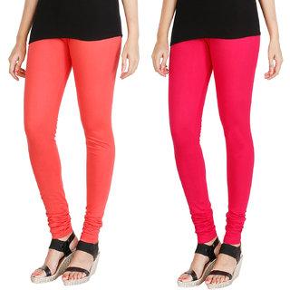 HRINKAR PEACH DARK PINK Soft Cotton Lycra Plain leggings for womens combo Pack of 2 Size - L, XL, XXL - HLGCMB0105-L