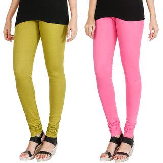 HRINKAR LIGHT GREEN LIGHT PINK Soft Cotton Lycra Plain leggings Pack of 2 Size - L, XL, XXL - HLGCMB0117-XL