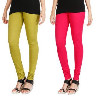 HRINKAR LIGHT GREEN DARK PINK Soft Cotton Lycra Plain leggings for womens combo Pack of 2 Size - L, XL, XXL - HLGCMB0118-XL