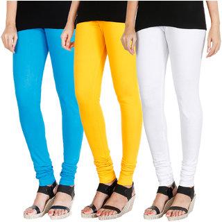HRINKAR LIGHT BLUE MANGO YELLOW WHITE Soft Cotton Lycra Plain leggings for womens combo Pack of 3 Size - L, XL, XXL - HLGCMB0165-XXL