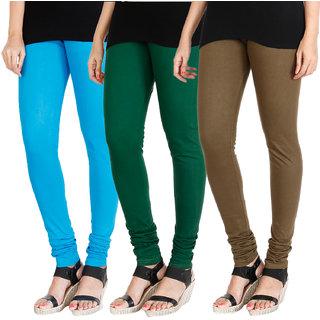 HRINKAR LIGHT BLUE BOTTLE GREEN MEHENDI Soft Cotton Lycra Plain leggings for womens combo Pack of 3 Size - L, XL, XXL - HLGCMB0168-XL