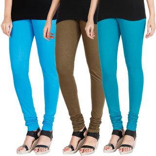 HRINKAR LIGHT BLUE MEHENDI BLUE Soft Cotton Lycra Plain leggings for womens combo Pack of 3 Size - L, XL, XXL - HLGCMB0209-L