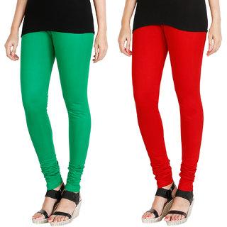 HRINKAR LIGHT GREEN RED Soft Cotton Lycra Plain Salwar leggings combo Pack of 2 Size - L, XL, XXL - HLGCMB0069-L