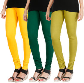 HRINKAR MANGO YELLOW BOTTLE GREEN LIGHT GREEN Soft Cotton Lycra Plain leggings for girls combo Pack of 3 Size - L, XL, XXL - HLGCMB0368-XXL