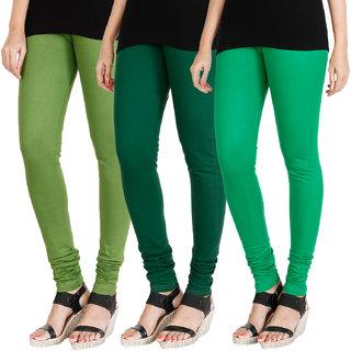 HRINKAR LIGHT GREEN BOTTLE GREEN LIGHT GREEN Soft Cotton Lycra Plain womens leggings combo Pack of 3 Size - L, XL, XXL - HLGCMB0271-L