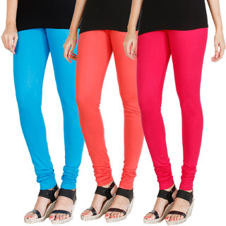 HRINKAR LIGHT BLUE PEACH DARK PINK Soft Cotton Lycra Plain womens leggings combo Pack of 3 Size - L, XL, XXL - HLGCMB0225-XXL