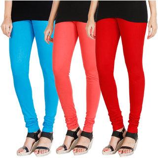 HRINKAR LIGHT BLUE PEACH RED Soft Cotton Lycra Plain leggings for girls combo Pack of 3 Size - L, XL, XXL - HLGCMB0227-XL