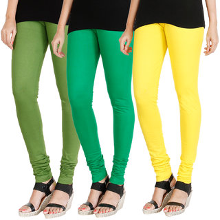 HRINKAR LIGHT GREEN LIGHT GREEN LIGHT YELLOW Soft Cotton Lycra Plain leggings for womens combo Pack of 3 Size - L, XL, XXL - HLGCMB0286-XL