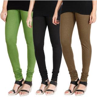 HRINKAR LIGHT GREEN BLACK MEHENDI Soft Cotton Lycra Plain leggings Pack of 3 Size - L, XL, XXL - HLGCMB0296-L