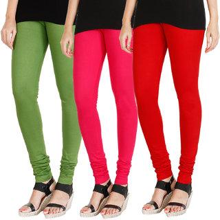 HRINKAR LIGHT GREEN DARK PINK RED Soft Cotton Lycra Plain Salwar leggings combo Pack of 3 Size - L, XL, XXL - HLGCMB0357-L