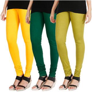 HRINKAR MANGO YELLOW BOTTLE GREEN LIGHT GREEN Soft Cotton Lycra Plain leggings for girls combo Pack of 3 Size - L, XL, XXL - HLGCMB0368-XXL