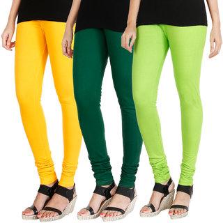 HRINKAR MANGO YELLOW BOTTLE GREEN FLUROSCENT GREEN Soft Cotton Lycra Plain womens leggings combo Pack of 3 Size - L, XL, XXL - HLGCMB0369-XXL