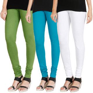 HRINKAR LIGHT GREEN BLUE WHITE Soft Cotton Lycra Plain leggings Pack of 3 Size - L, XL, XXL - HLGCMB0360-L