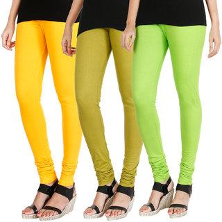 HRINKAR MANGO YELLOW LIGHT GREEN FLUROSCENT GREEN Soft Cotton Lycra Plain leggings Pack of 3 Size - L, XL, XXL - HLGCMB0432-L