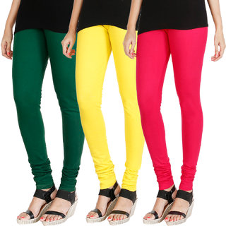 HRINKAR BOTTLE GREEN LIGHT YELLOW DARK PINK Soft Cotton Lycra Plain leggings for girls combo Pack of 3 Size - L, XL, XXL - HLGCMB0491-XL
