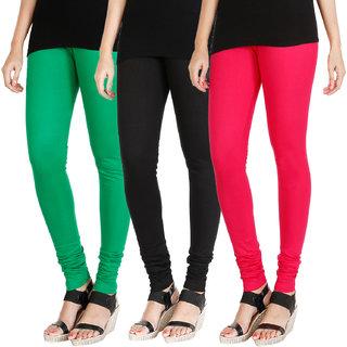 HRINKAR LIGHT GREEN BLACK DARK PINK Soft Cotton Lycra Plain leggings Pack of 3 Size - L, XL, XXL - HLGCMB0538-XXL