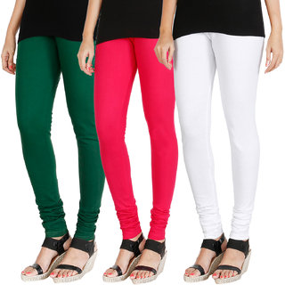 HRINKAR BOTTLE GREEN DARK PINK WHITE Soft Cotton Lycra Plain Salwar leggings combo Pack of 3 Size - L, XL, XXL - HLGCMB0527-XXL