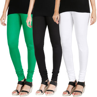 HRINKAR LIGHT GREEN BLACK WHITE Soft Cotton Lycra Plain leggings Pack of 3 Size - L, XL, XXL - HLGCMB0541-XL