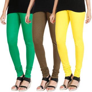 HRINKAR LIGHT GREEN MEHENDI LIGHT YELLOW Soft Cotton Lycra Plain leggings for womens combo Pack of 3 Size - L, XL, XXL - HLGCMB0542-XL