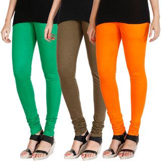 HRINKAR LIGHT GREEN MEHENDI BRIGHT ORANGE Soft Cotton Lycra Plain leggings for womens combo Pack of 3 Size - L, XL, XXL - HLGCMB0544-XL