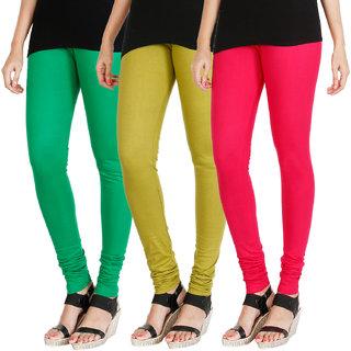 HRINKAR LIGHT GREEN LIGHT GREEN DARK PINK Soft Cotton Lycra Plain Salwar leggings combo Pack of 3 Size - L, XL, XXL - HLGCMB0578-XL