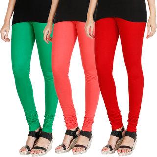 HRINKAR LIGHT GREEN PEACH RED Soft Cotton Lycra Plain womens leggings combo Pack of 3 Size - L, XL, XXL - HLGCMB0567-L