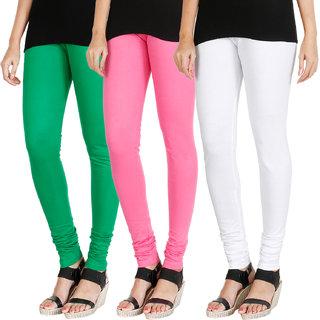 HRINKAR LIGHT GREEN LIGHT PINK WHITE Soft Cotton Lycra Plain leggings for womens combo Pack of 3 Size - L, XL, XXL - HLGCMB0590-XL