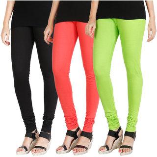 HRINKAR BLACK PEACH FLUROSCENT GREEN Soft Cotton Lycra Plain leggings womens and girls combo Pack of 3 Size - L, XL, XXL - HLGCMB0618-L