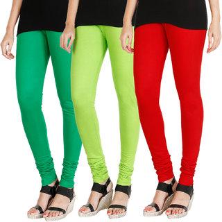 HRINKAR LIGHT GREEN FLUROSCENT GREEN RED Soft Cotton Lycra Plain womens leggings combo Pack of 3 Size - L, XL, XXL - HLGCMB0585-XXL