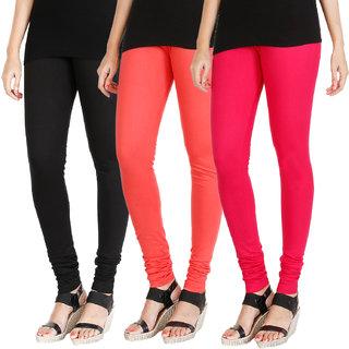 HRINKAR BLACK PEACH DARK PINK Soft Cotton Lycra Plain womens leggings combo Pack of 3 Size - L, XL, XXL - HLGCMB0620-XL