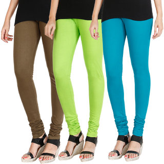 HRINKAR MEHENDI FLUROSCENT GREEN BLUE Soft Cotton Lycra Plain womens leggings combo Pack of 3 Size - L, XL, XXL - HLGCMB0684-XL