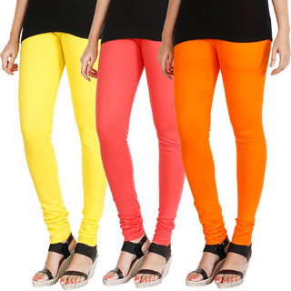 HRINKAR LIGHT YELLOW PEACH BRIGHT ORANGE Soft Cotton Lycra Plain leggings for womens combo Pack of 3 Size - L, XL, XXL - HLGCMB0697-L
