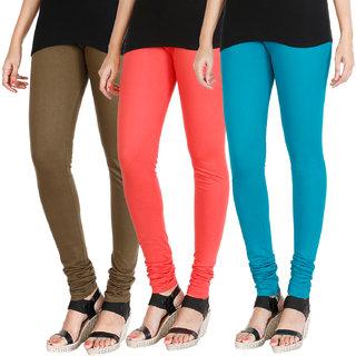 HRINKAR MEHENDI PEACH BLUE Soft Cotton Lycra Plain leggings womens and girls combo Pack of 3 Size - L, XL, XXL - HLGCMB0666-L