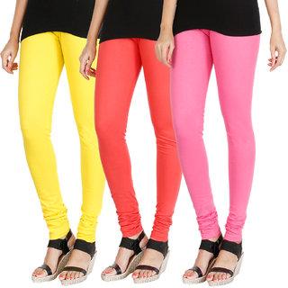 HRINKAR LIGHT YELLOW PEACH LIGHT PINK Soft Cotton Lycra Plain womens leggings combo Pack of 3 Size - L, XL, XXL - HLGCMB0700-XL