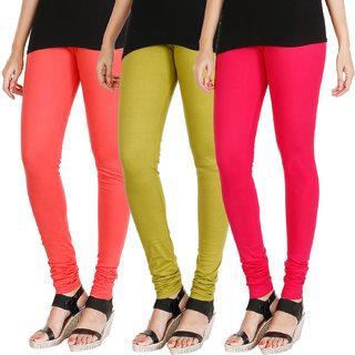 HRINKAR PEACH LIGHT GREEN DARK PINK Soft Cotton Lycra Plain leggings for womens combo Pack of 3 Size - L, XL, XXL - HLGCMB0742-XL