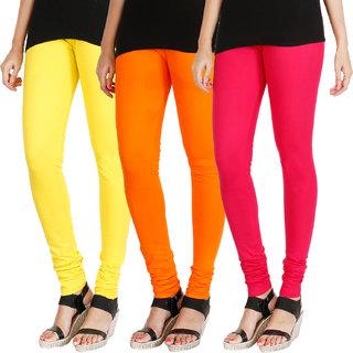 HRINKAR LIGHT YELLOW BRIGHT ORANGE DARK PINK Soft Cotton Lycra Plain leggings womens and girls combo Pack of 3 Size - L, XL, XXL - HLGCMB0708-XXL