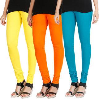 HRINKAR LIGHT YELLOW BRIGHT ORANGE BLUE Soft Cotton Lycra Plain Salwar leggings combo Pack of 3 Size - L, XL, XXL - HLGCMB0709-L