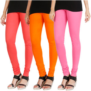 HRINKAR PEACH BRIGHT ORANGE LIGHT PINK Soft Cotton Lycra Plain womens leggings combo Pack of 3 Size - L, XL, XXL - HLGCMB0735-L