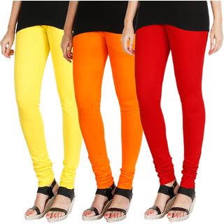 HRINKAR LIGHT YELLOW BRIGHT ORANGE RED Soft Cotton Lycra Plain leggings for girls combo Pack of 3 Size - L, XL, XXL - HLGCMB0710-L