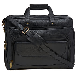 Leather World Black 17 Laptop Office Bag Designer Travel Bag