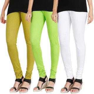 HRINKAR LIGHT GREEN FLUROSCENT GREEN WHITE Soft Cotton Lycra Plain Salwar leggings combo Pack of 3 Size - L, XL, XXL - HLGCMB0786-XL