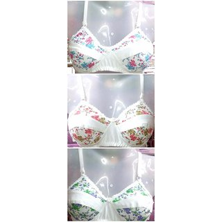 PACK OF 3 PC MULTICOLOR COTTON NON-PADDED BRA SIZE 28-36
